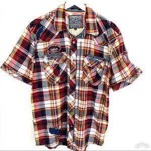 Affliction Live Fast Short Sleeve Snap Front Plaid